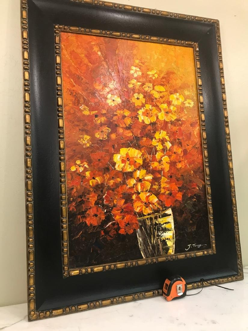Abstract Oil on Canvas of Bouquet of Flowers - 6