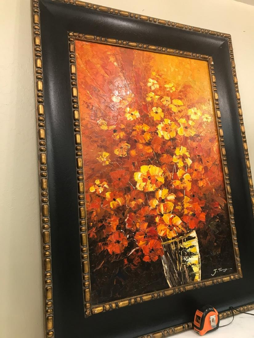 Abstract Oil on Canvas of Bouquet of Flowers - 8