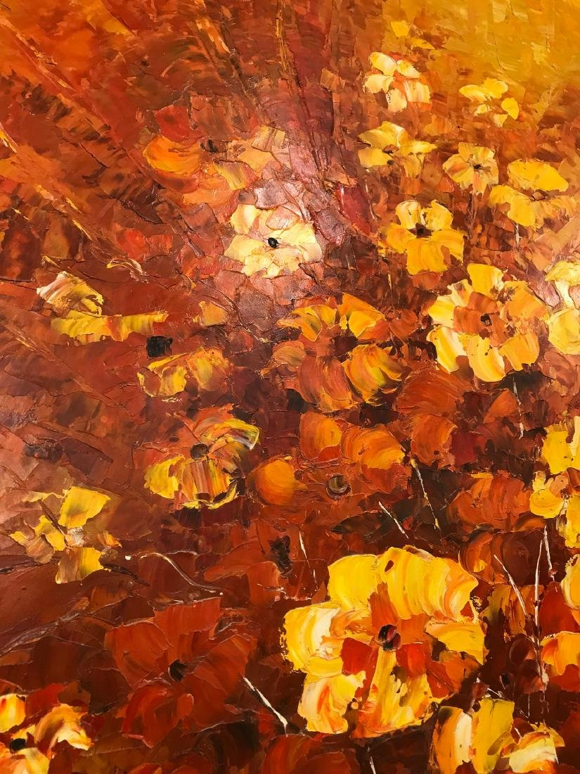 Abstract Oil on Canvas of Bouquet of Flowers - 9
