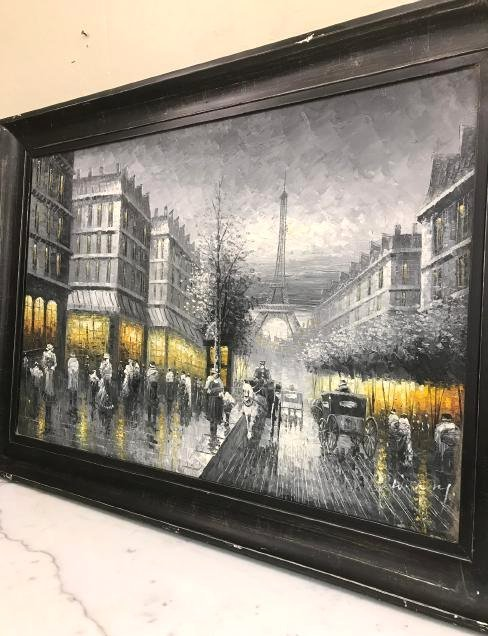 Abstract Oil on Canvas of Old Paris Scene