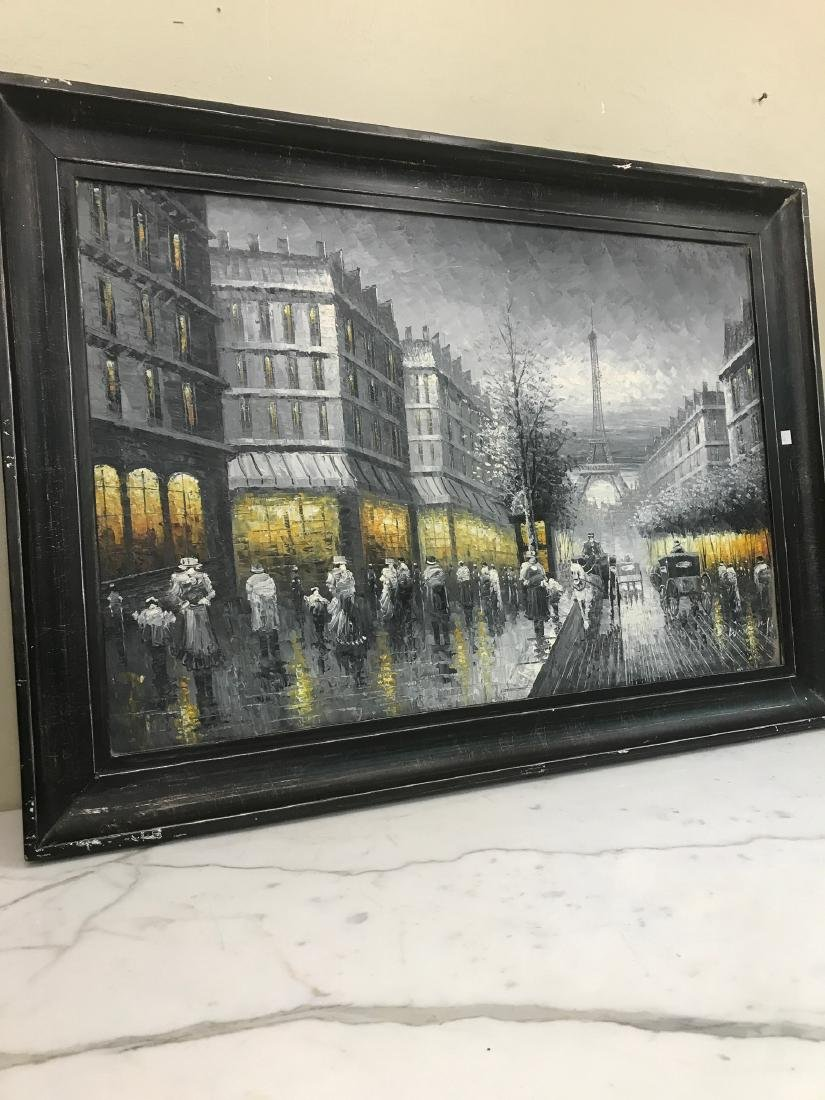 Abstract Oil on Canvas of Old Paris Scene - 2