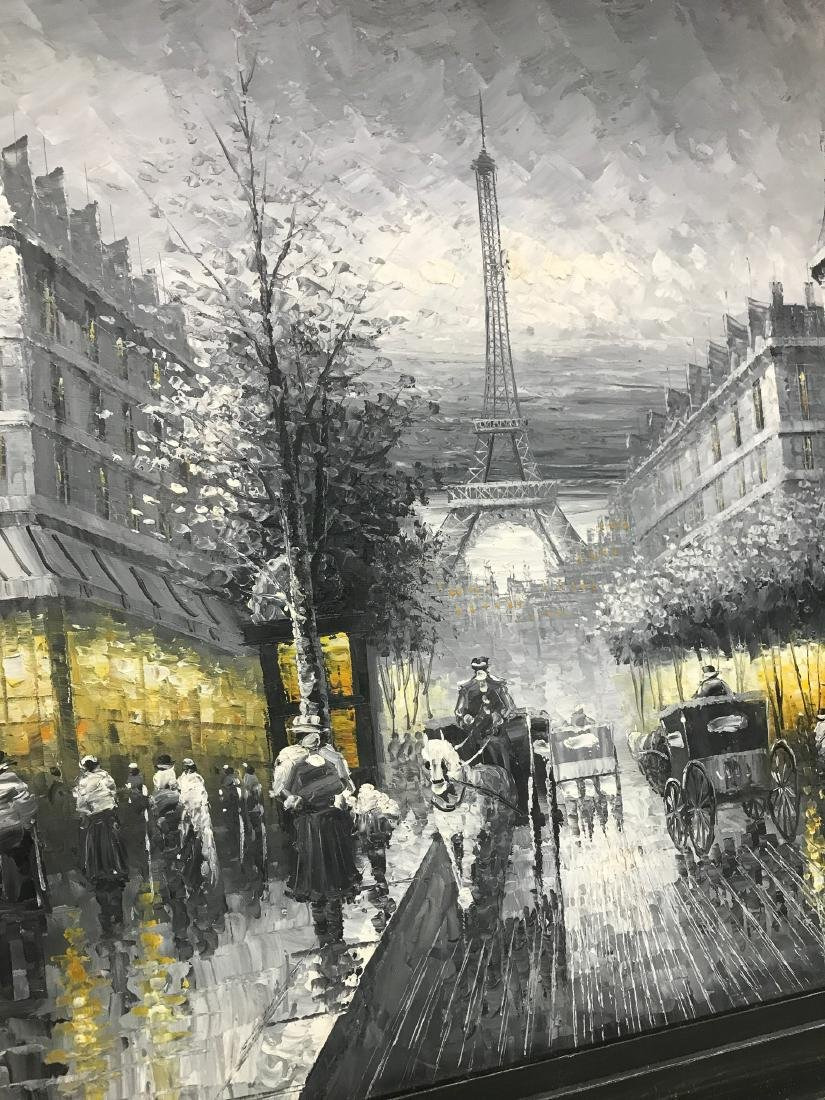 Abstract Oil on Canvas of Old Paris Scene - 3