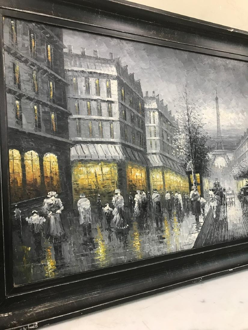 Abstract Oil on Canvas of Old Paris Scene - 4