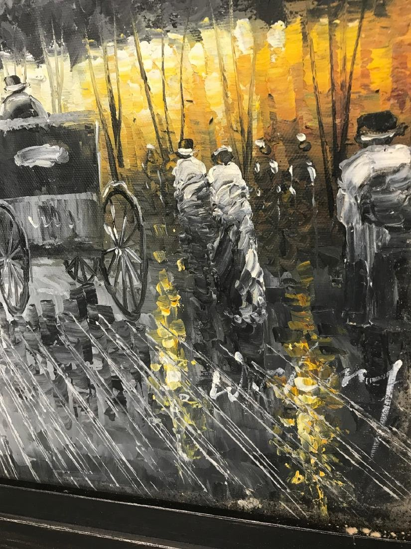 Abstract Oil on Canvas of Old Paris Scene - 5