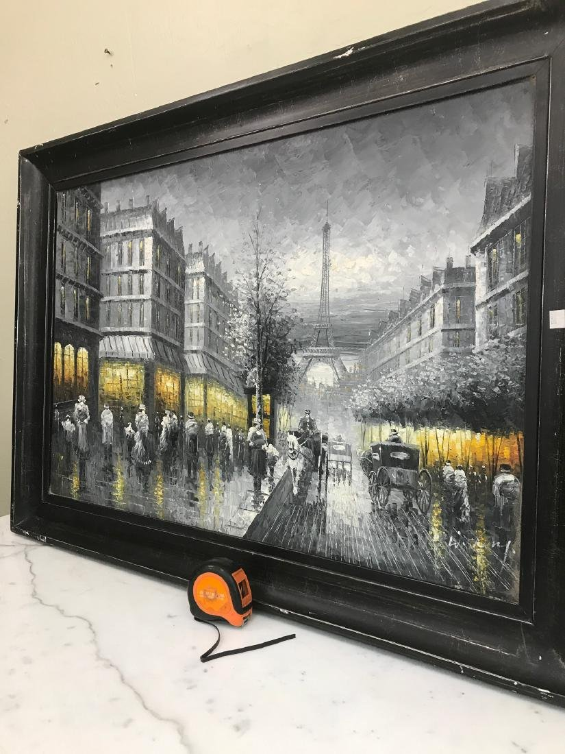 Abstract Oil on Canvas of Old Paris Scene - 6