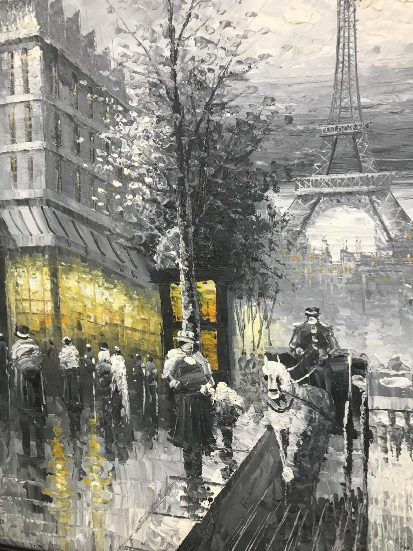 Abstract Oil on Canvas of Old Paris Scene - 7