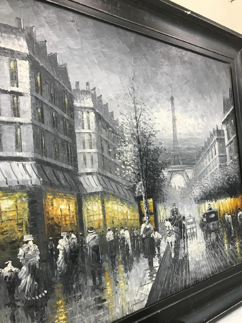 Abstract Oil on Canvas of Old Paris Scene - 8