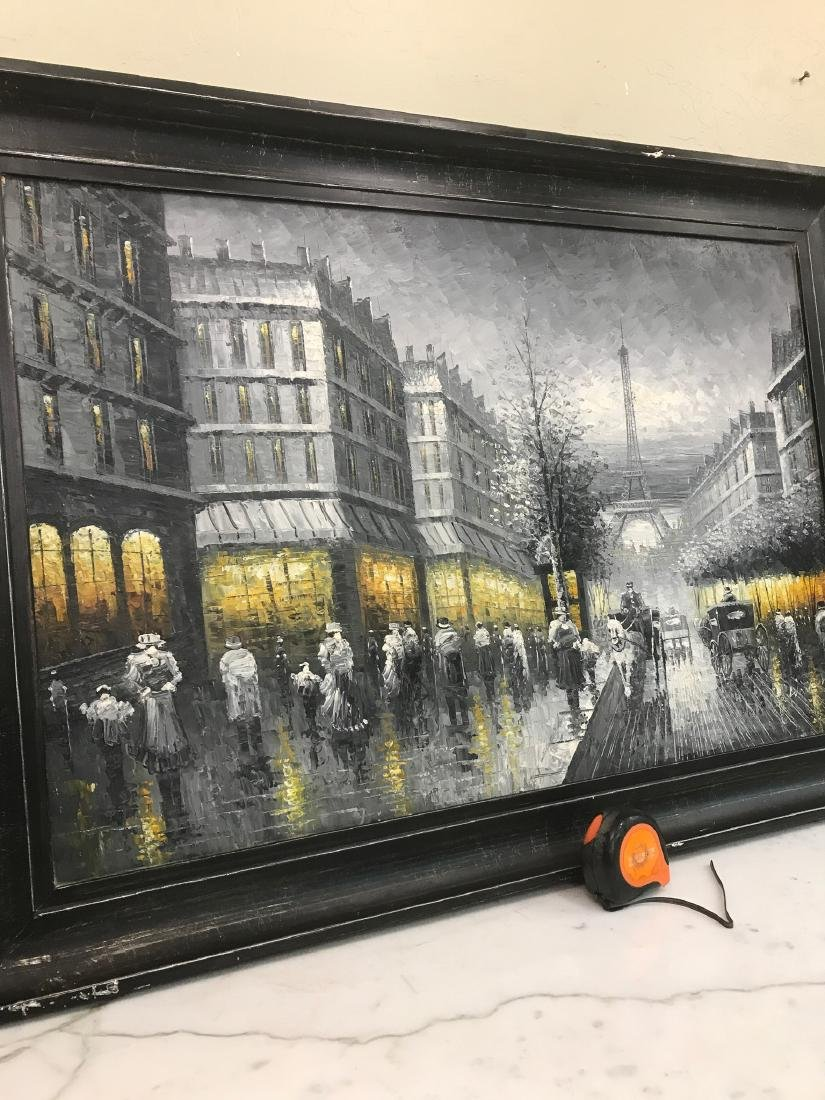 Abstract Oil on Canvas of Old Paris Scene - 9