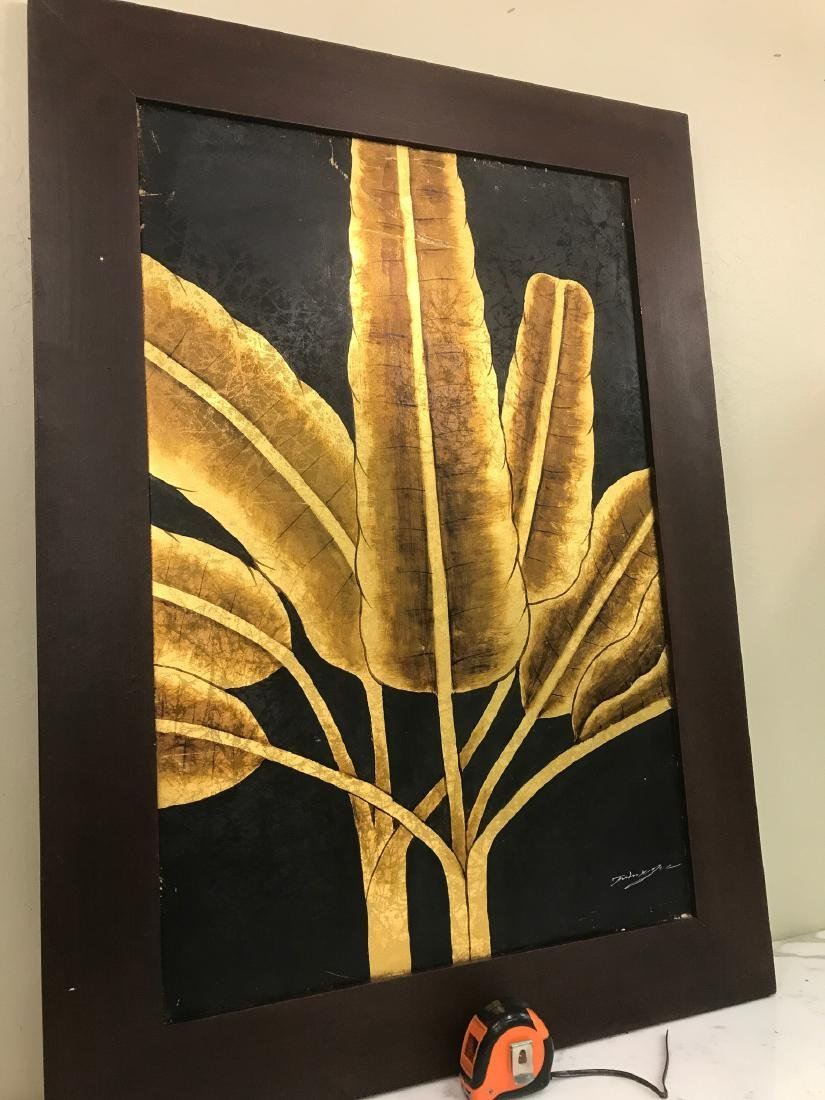 Abstract Oil on Canvas of Golden Leaves, Signed - 10