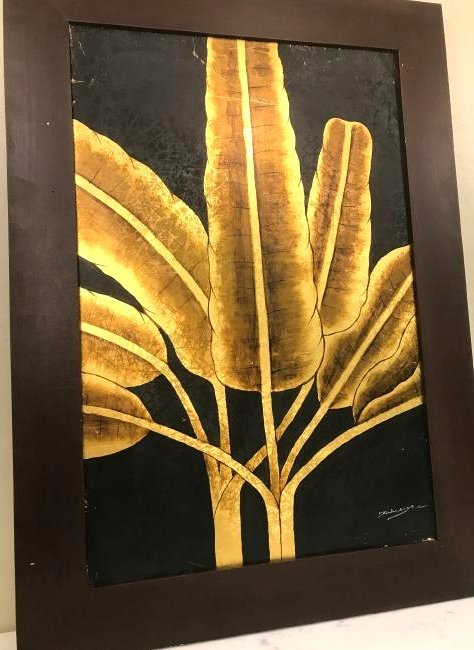 Abstract Oil on Canvas of Golden Leaves, Signed