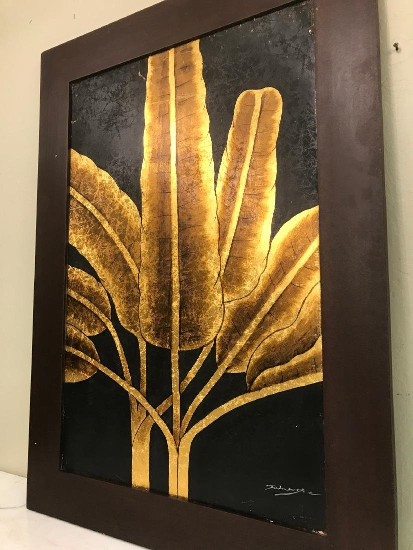Abstract Oil on Canvas of Golden Leaves, Signed - 4