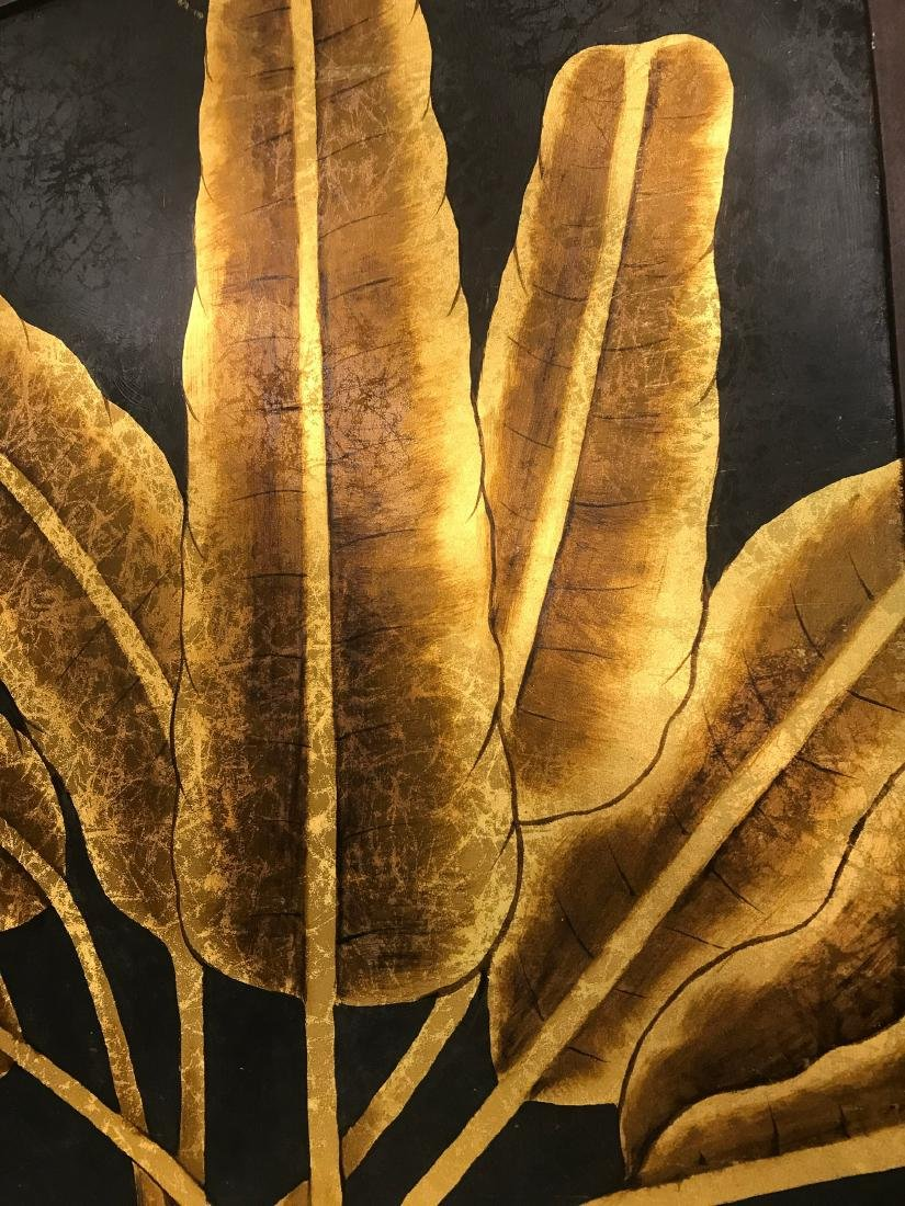 Abstract Oil on Canvas of Golden Leaves, Signed - 6
