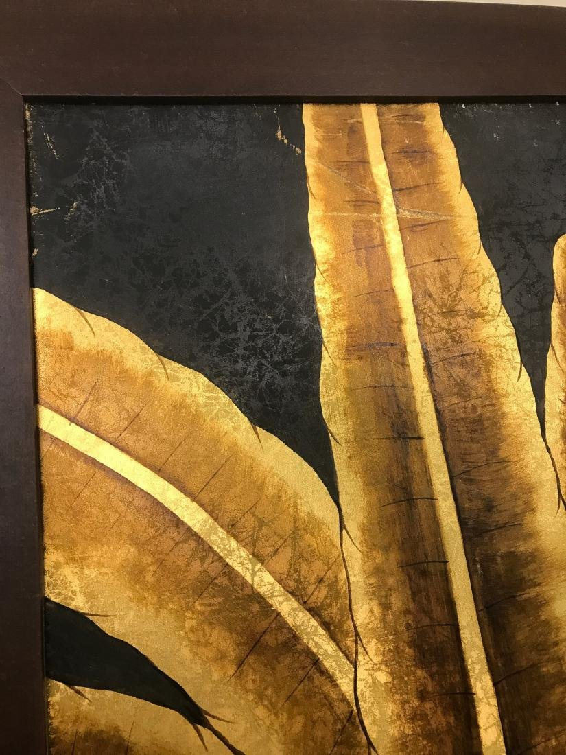 Abstract Oil on Canvas of Golden Leaves, Signed - 7