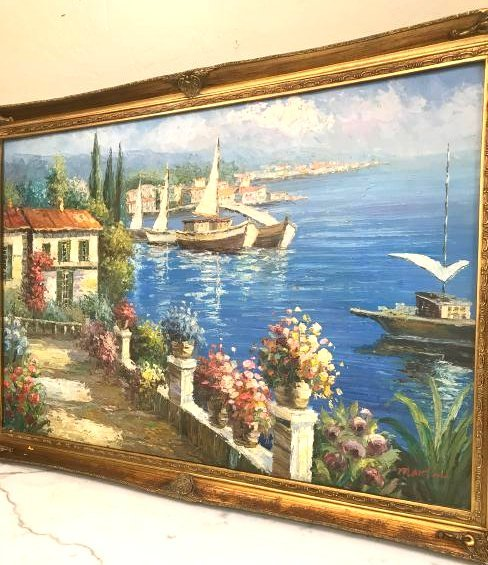 Oil on Canvas Scene of Lake Como, Italy