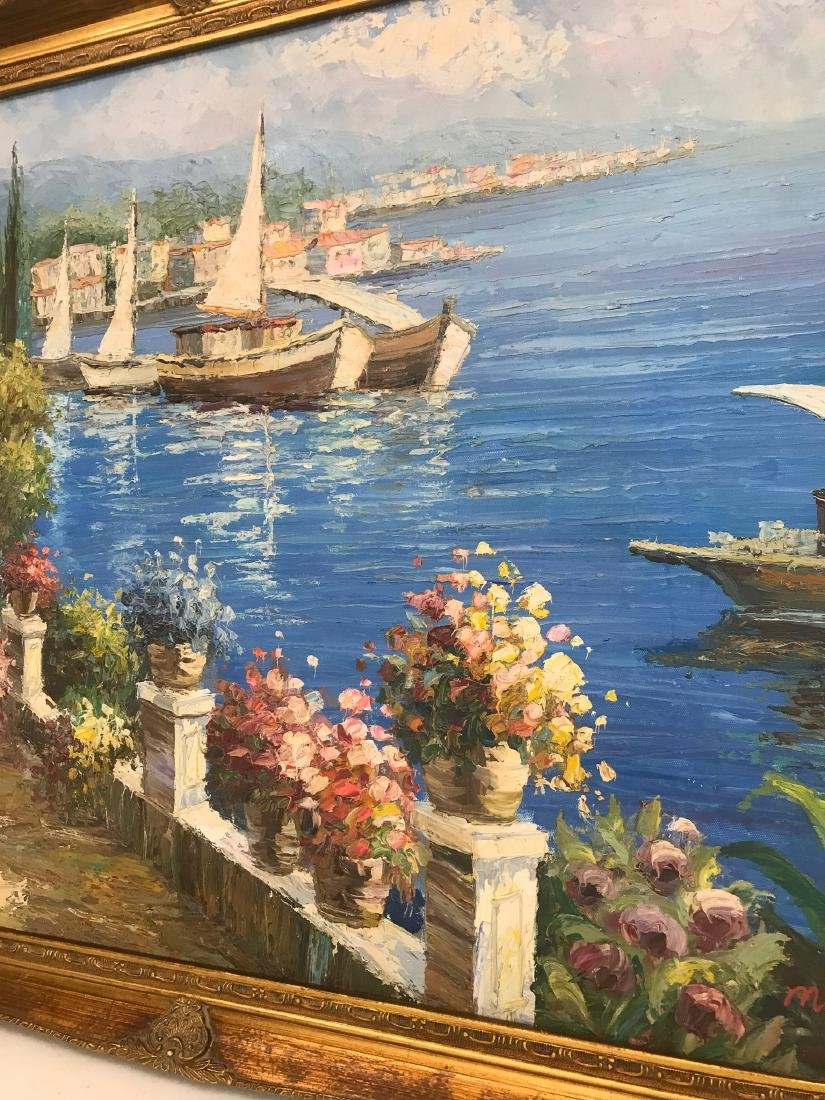 Oil on Canvas Scene of Lake Como, Italy - 2