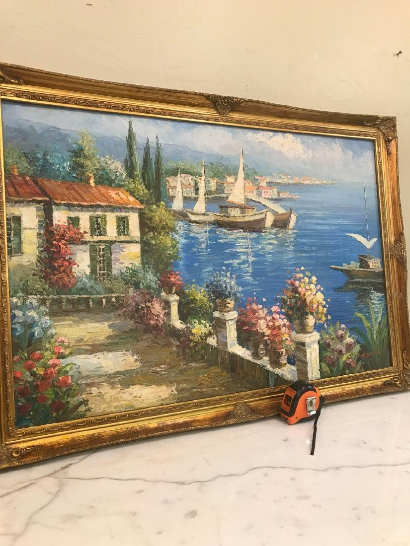 Oil on Canvas Scene of Lake Como, Italy - 3