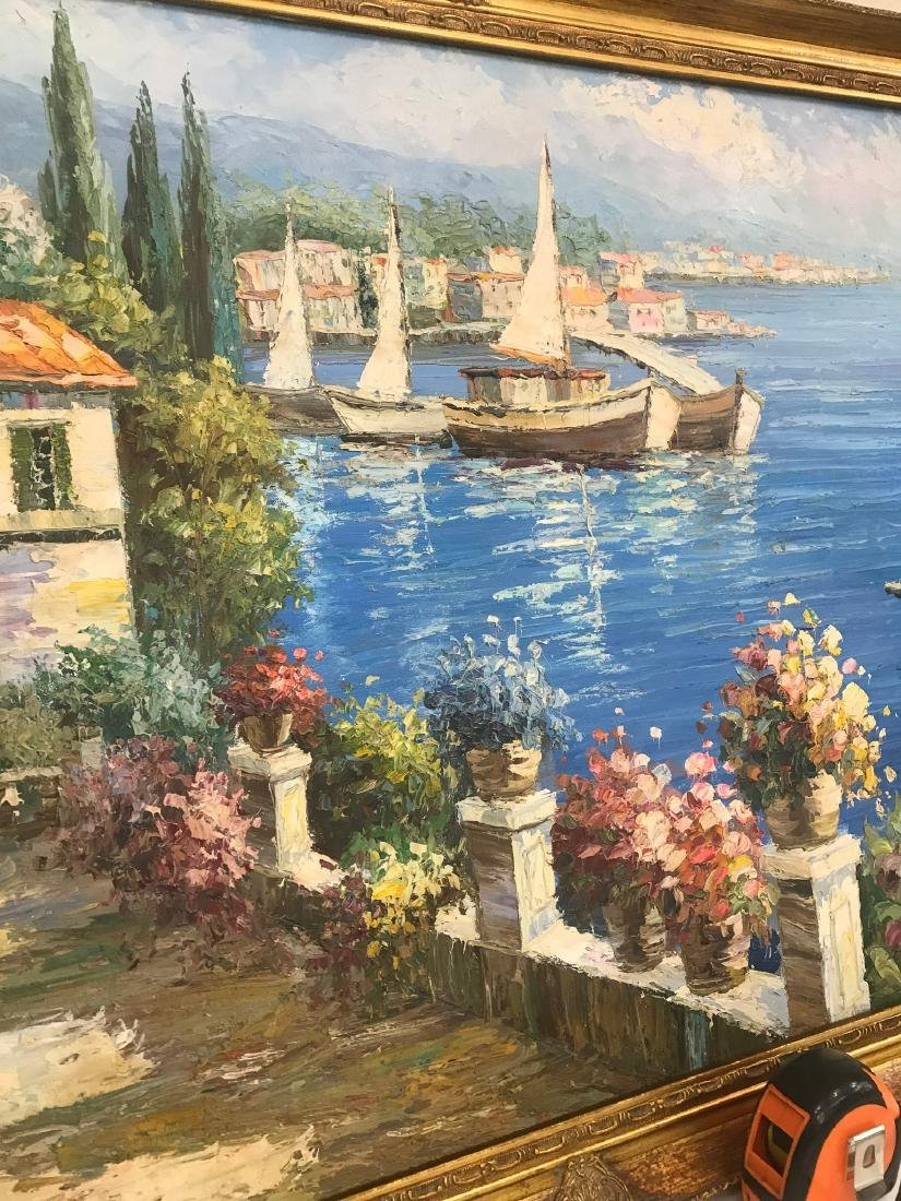 Oil on Canvas Scene of Lake Como, Italy - 4