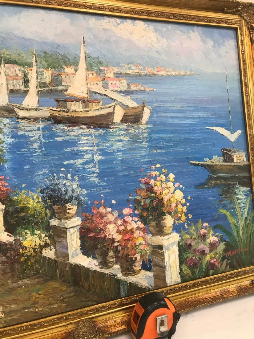 Oil on Canvas Scene of Lake Como, Italy - 5