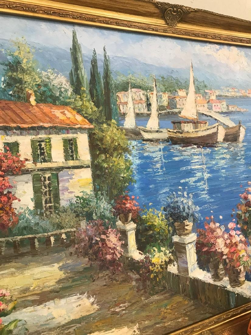 Oil on Canvas Scene of Lake Como, Italy - 6