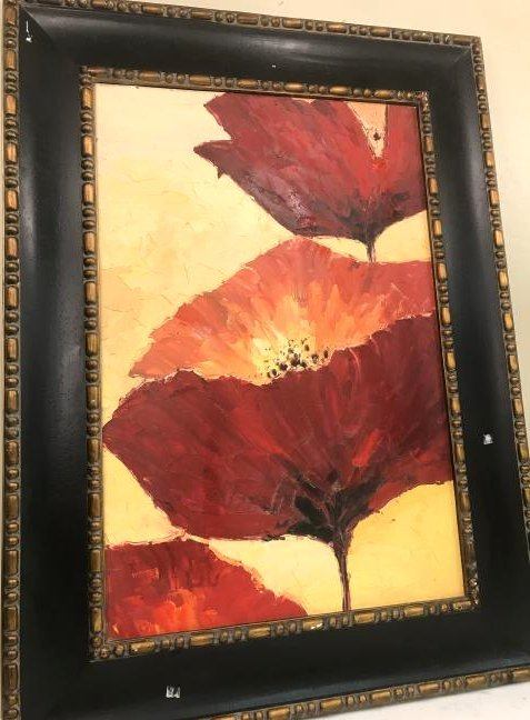 Abstract Oil on Canvas of Red Flowers