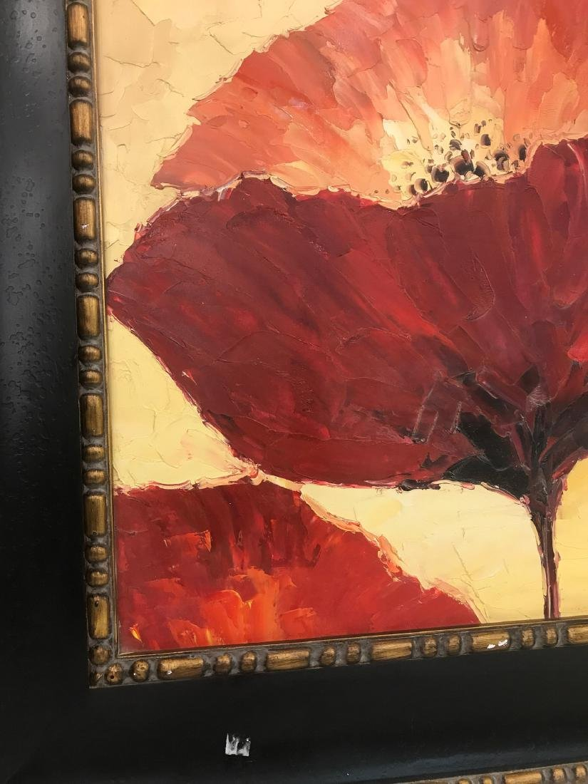 Abstract Oil on Canvas of Red Flowers - 3
