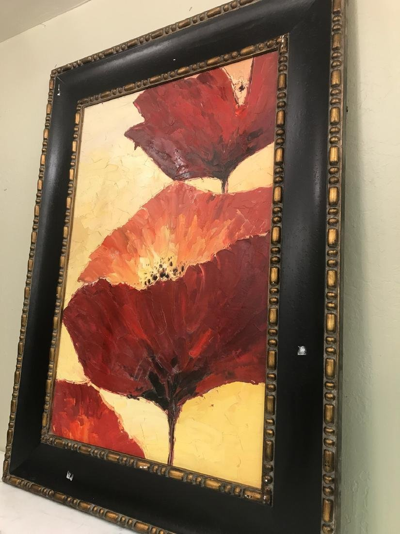 Abstract Oil on Canvas of Red Flowers - 4