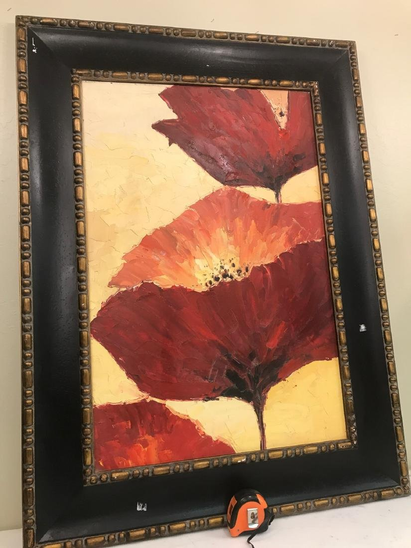 Abstract Oil on Canvas of Red Flowers - 6