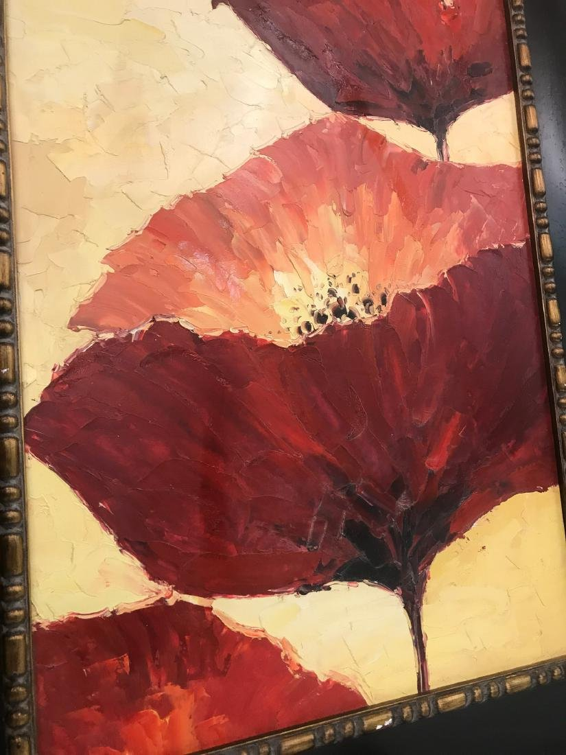 Abstract Oil on Canvas of Red Flowers - 8