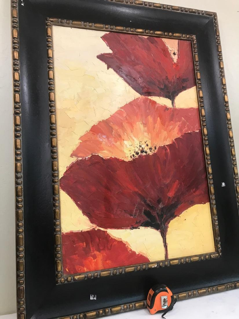 Abstract Oil on Canvas of Red Flowers - 9