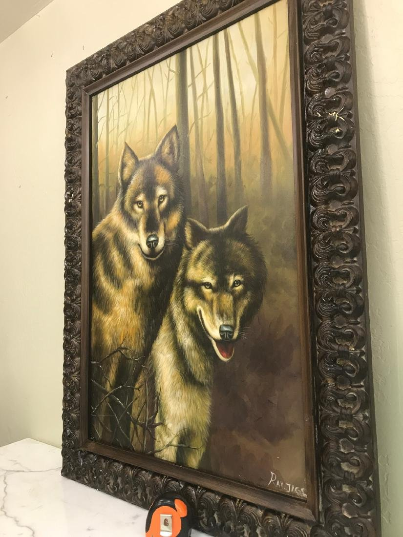 Oil on Canvas with Two Wolves in the Woods - 10