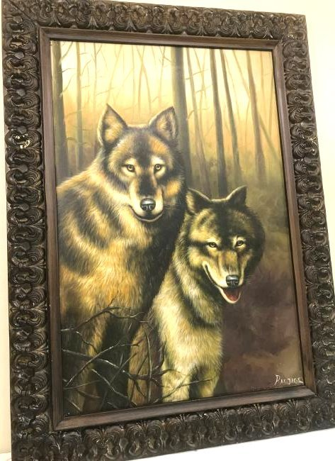 Oil on Canvas with Two Wolves in the Woods