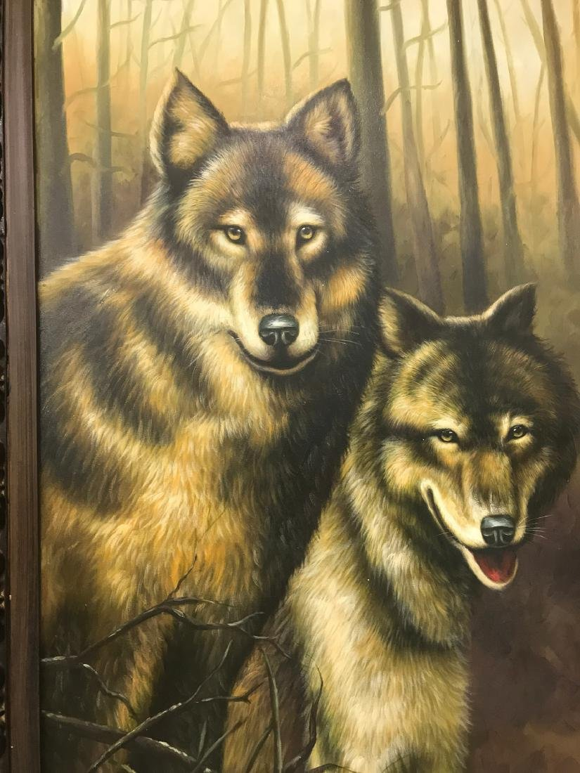Oil on Canvas with Two Wolves in the Woods - 2