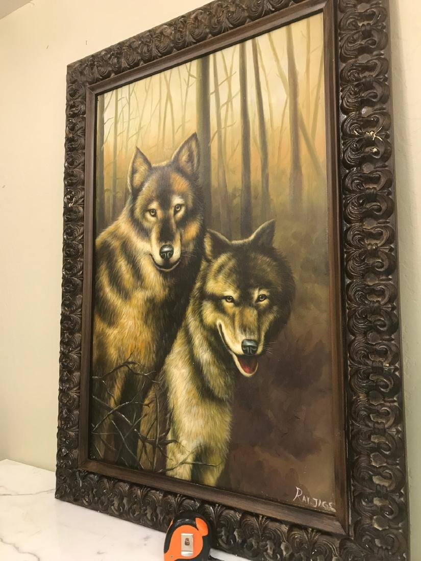 Oil on Canvas with Two Wolves in the Woods - 4