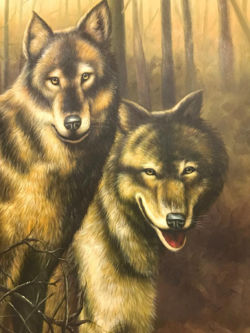 Oil on Canvas with Two Wolves in the Woods - 5
