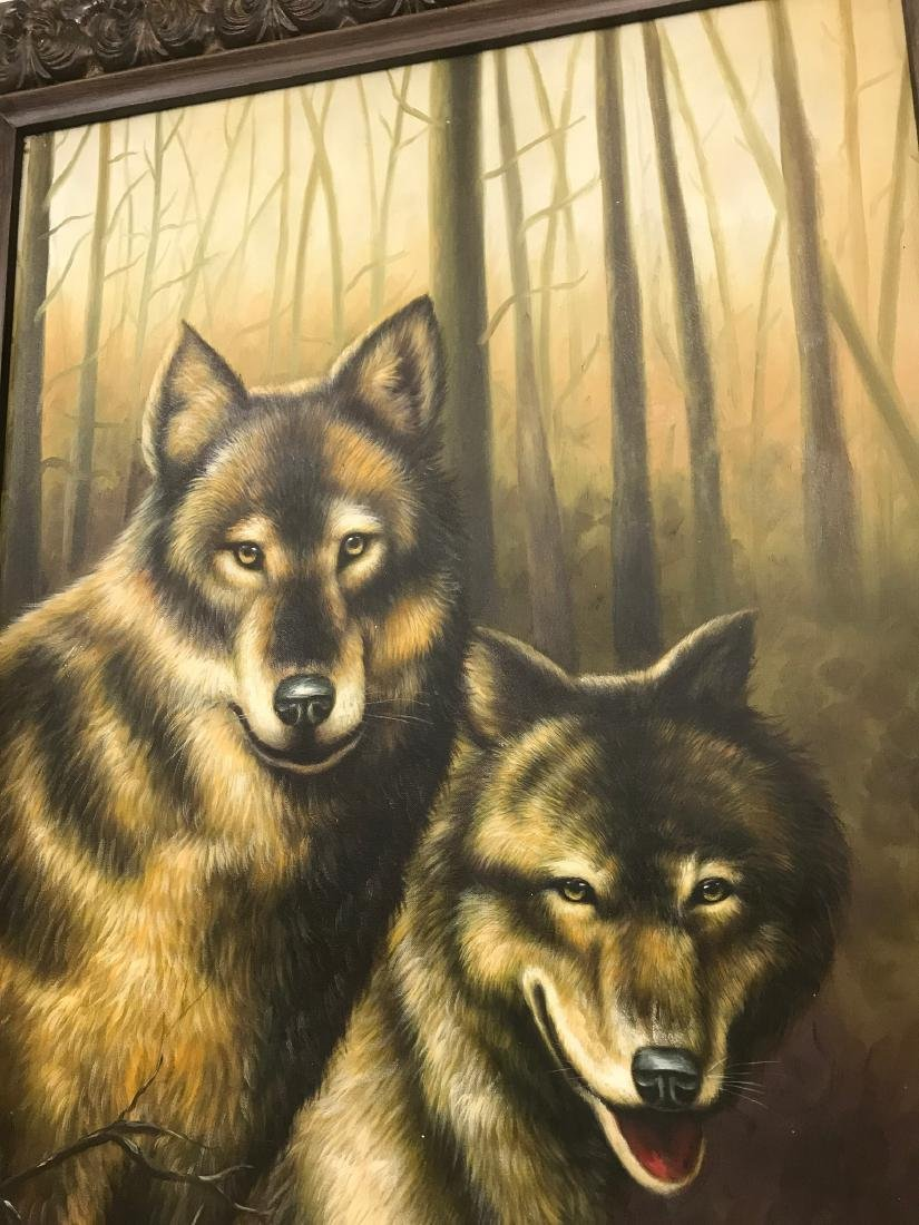 Oil on Canvas with Two Wolves in the Woods - 6