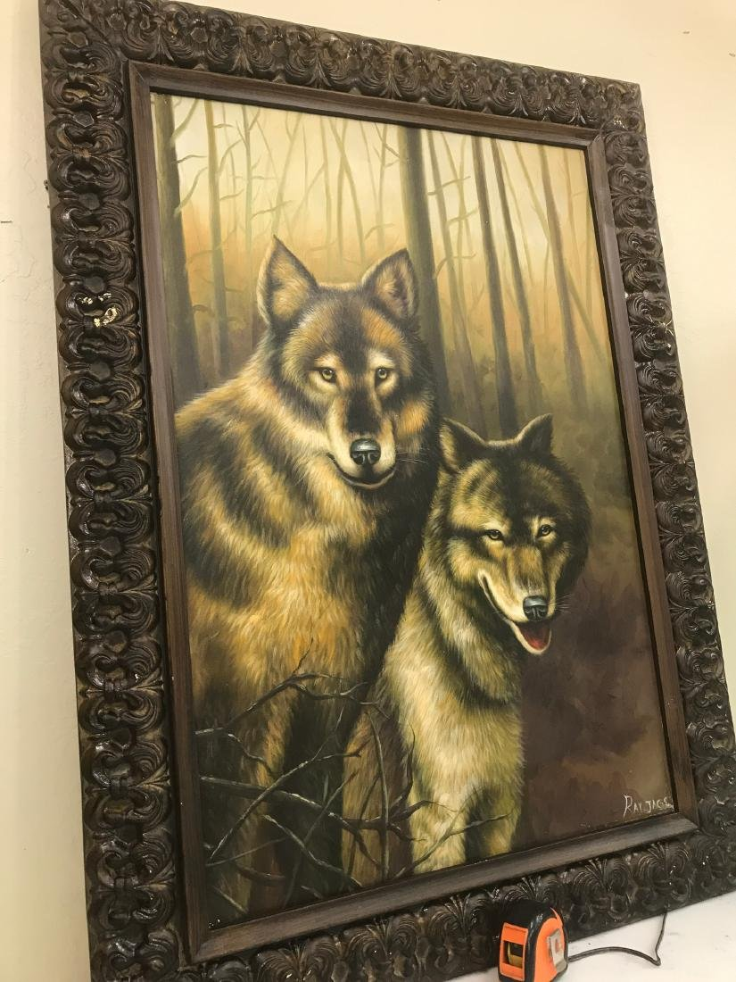 Oil on Canvas with Two Wolves in the Woods - 8