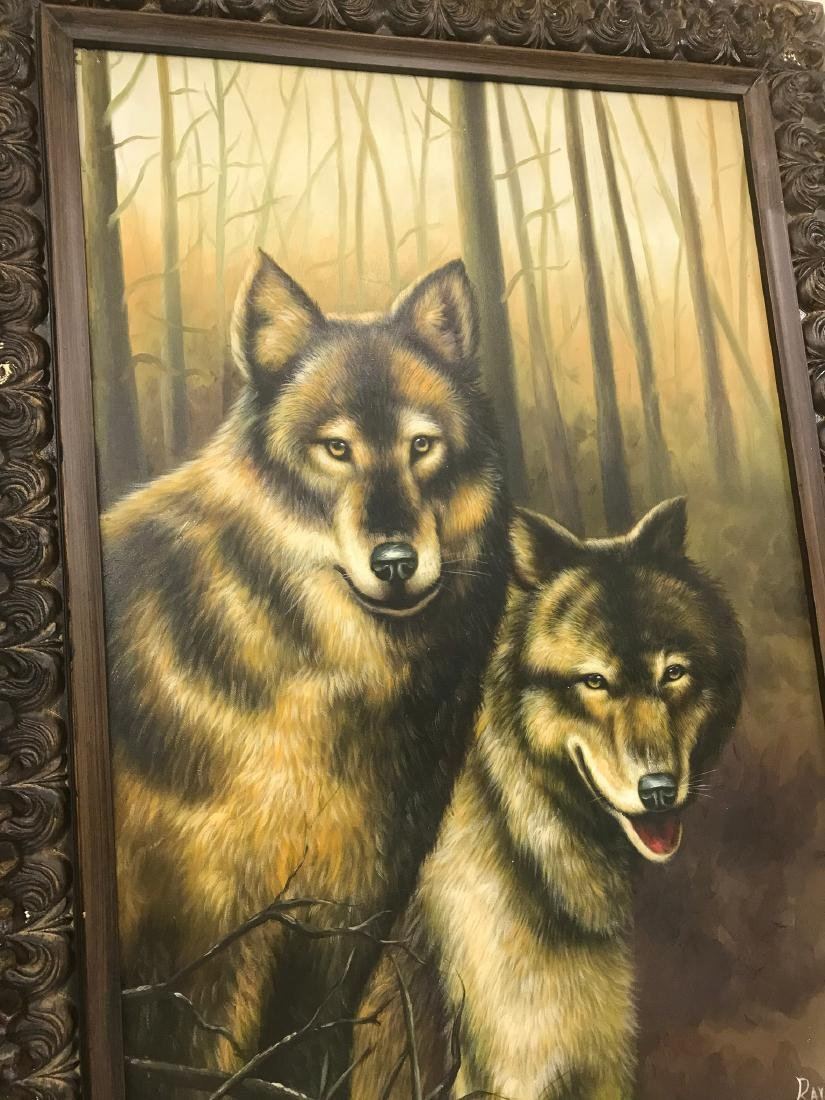 Oil on Canvas with Two Wolves in the Woods - 9