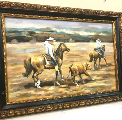 Oil on Canvas of Two Cowboys on Horse w/ Cow