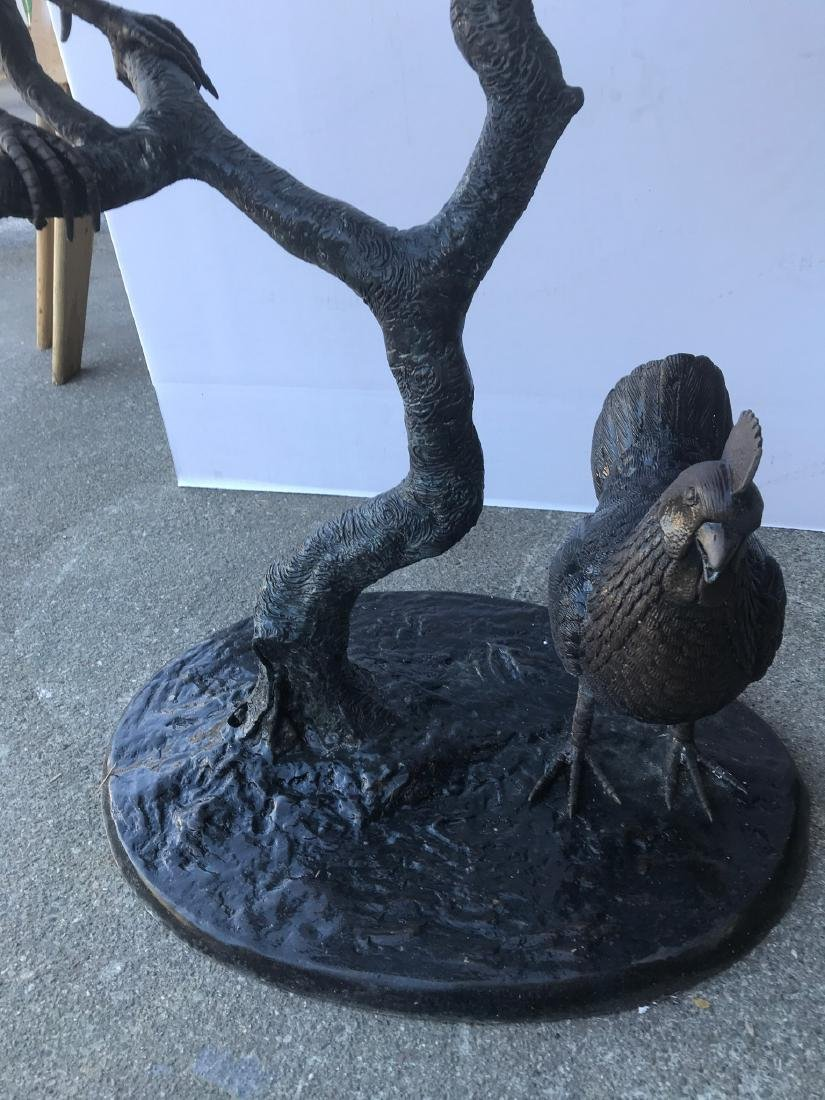 Bronze Fountain with Two Roosters, Chicken - 4