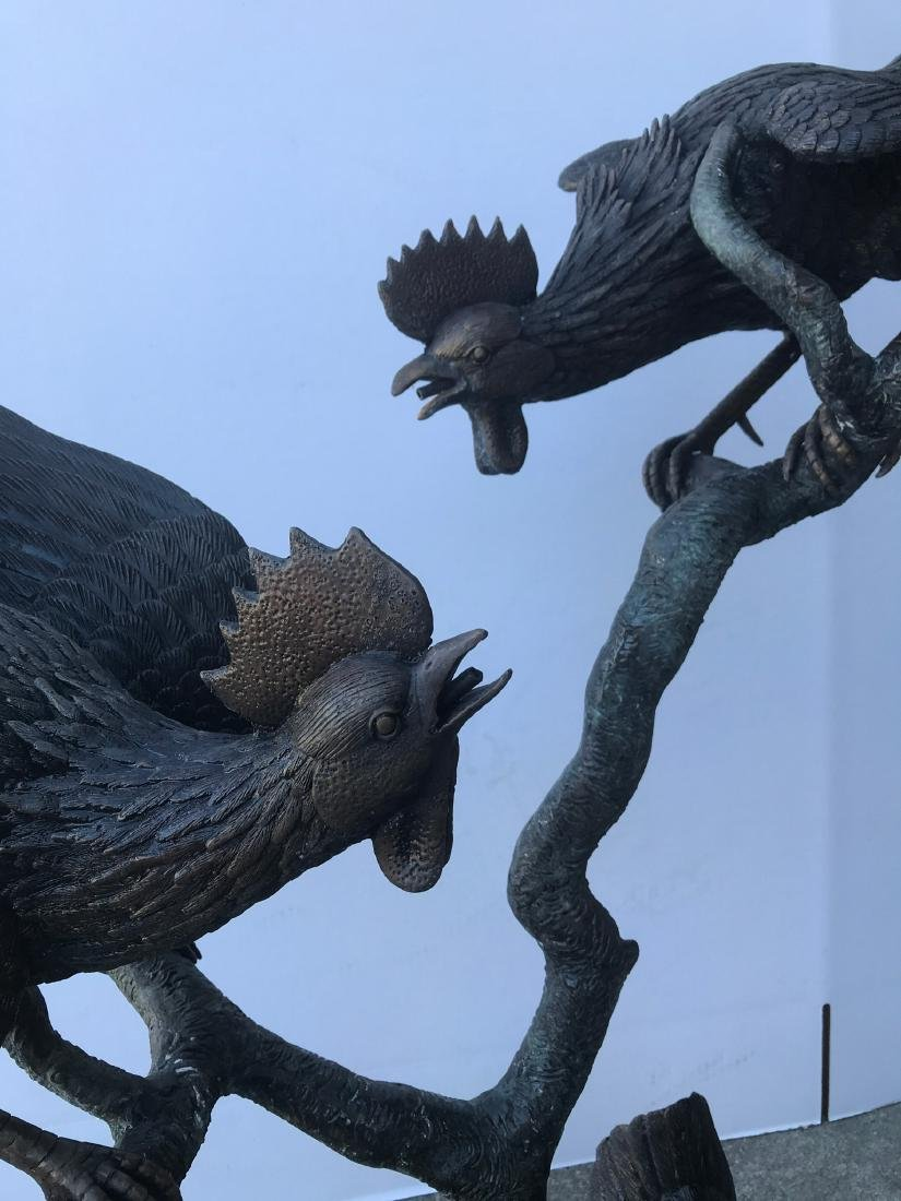 Bronze Fountain with Two Roosters, Chicken - 7