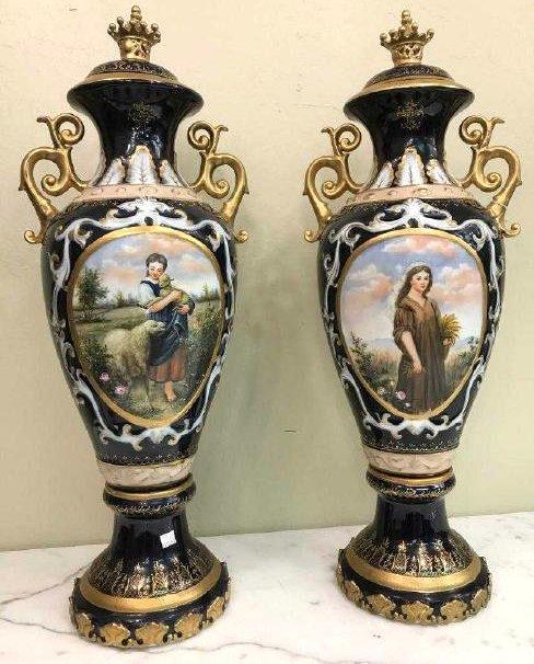 Pair of Porcelain Vases w/ Biblical Scenery