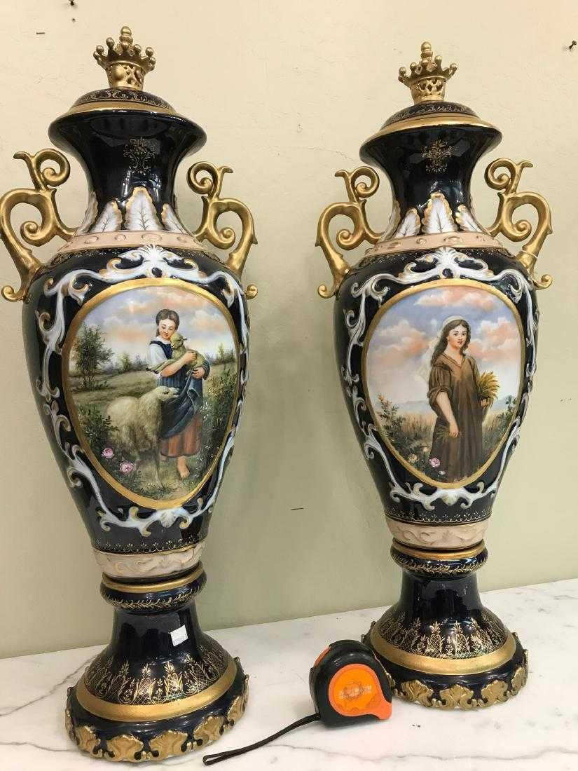 Pair of Porcelain Vases w/ Biblical Scenery - 2