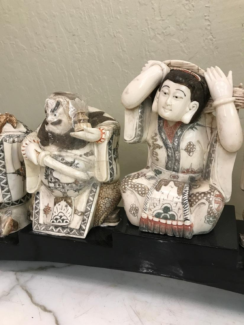 Hand-Carved Bone Statue of 7 Immortals - 3