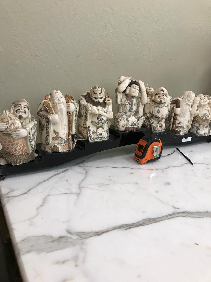 Hand-Carved Bone Statue of 7 Immortals - 5