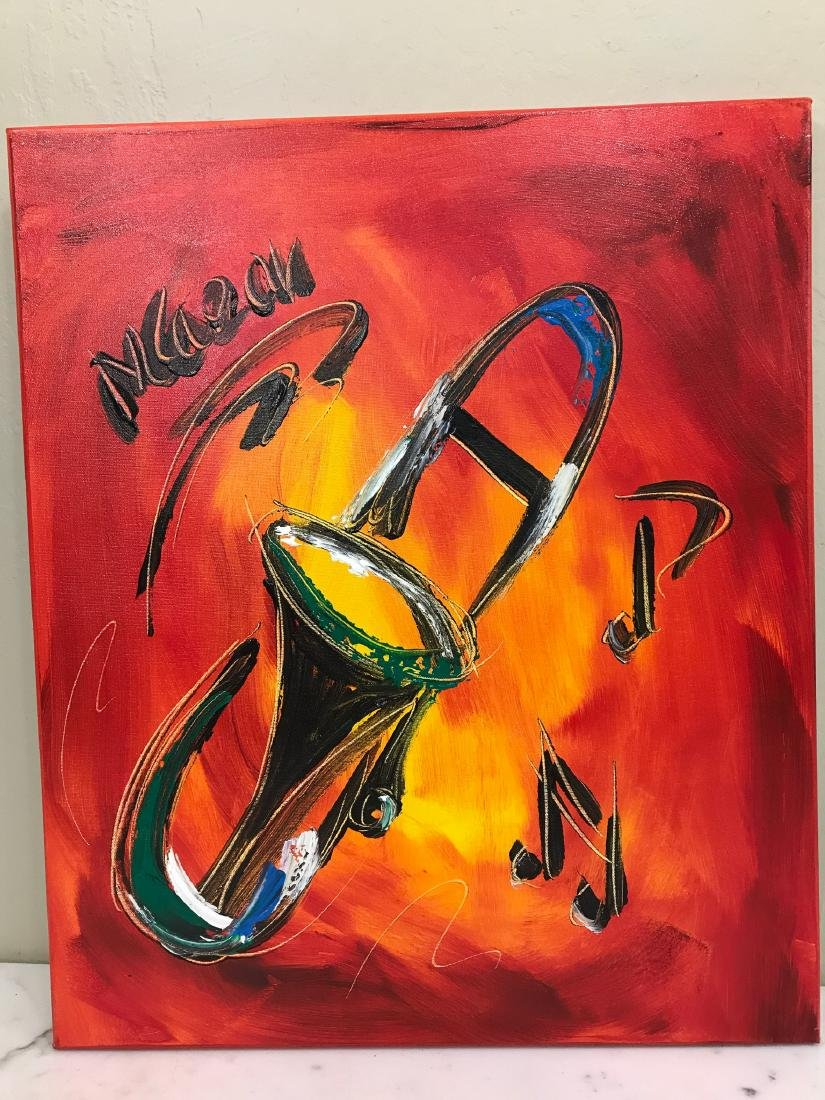 """""""Trombone Music"""" Oil on Canvas, Signed"""
