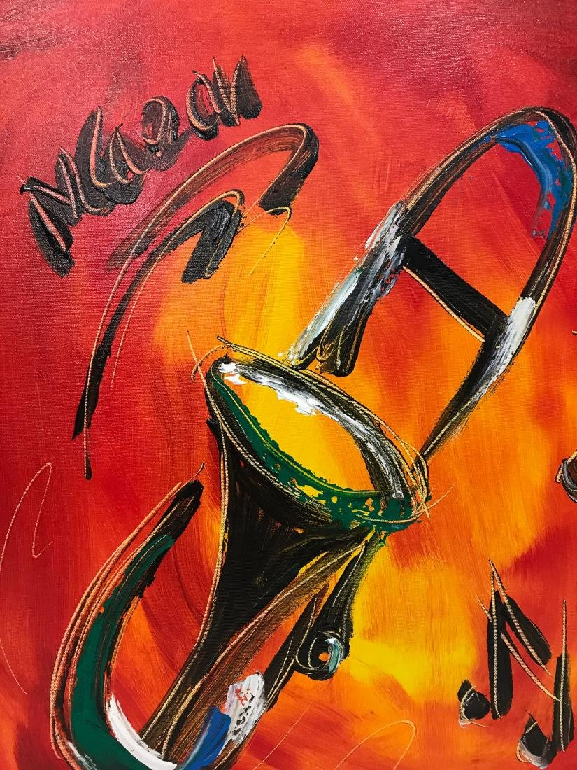 """""""Trombone Music"""" Oil on Canvas, Signed - 2"""