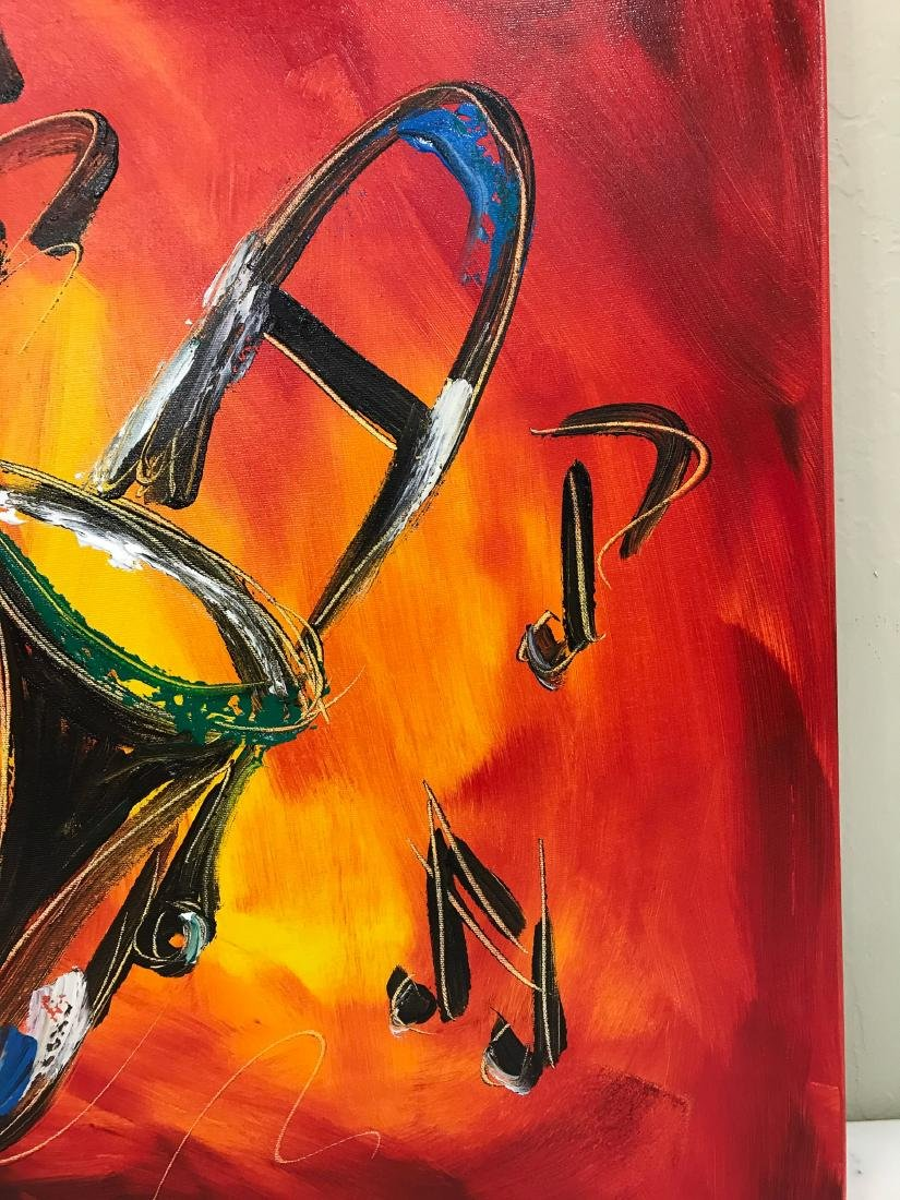 """""""Trombone Music"""" Oil on Canvas, Signed - 3"""