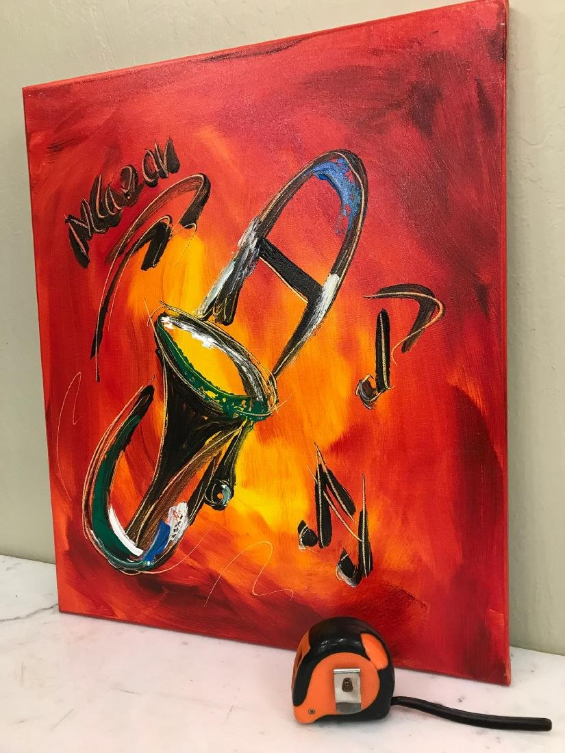 """""""Trombone Music"""" Oil on Canvas, Signed - 4"""