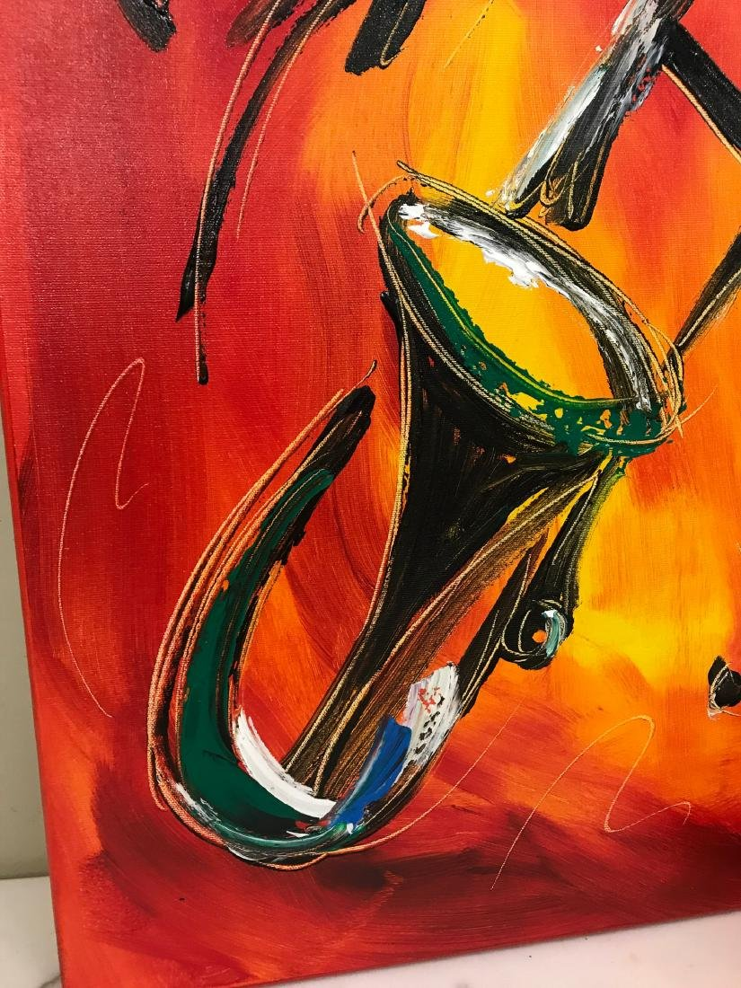 """""""Trombone Music"""" Oil on Canvas, Signed - 5"""