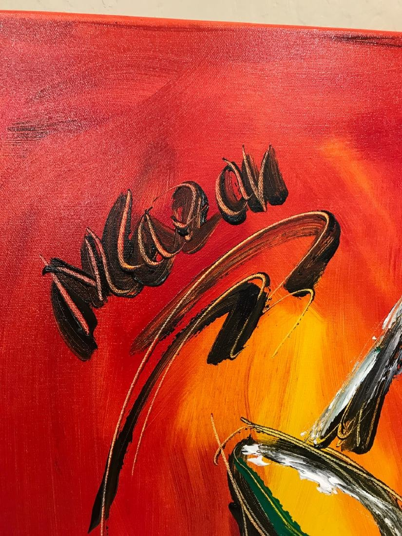 """""""Trombone Music"""" Oil on Canvas, Signed - 6"""